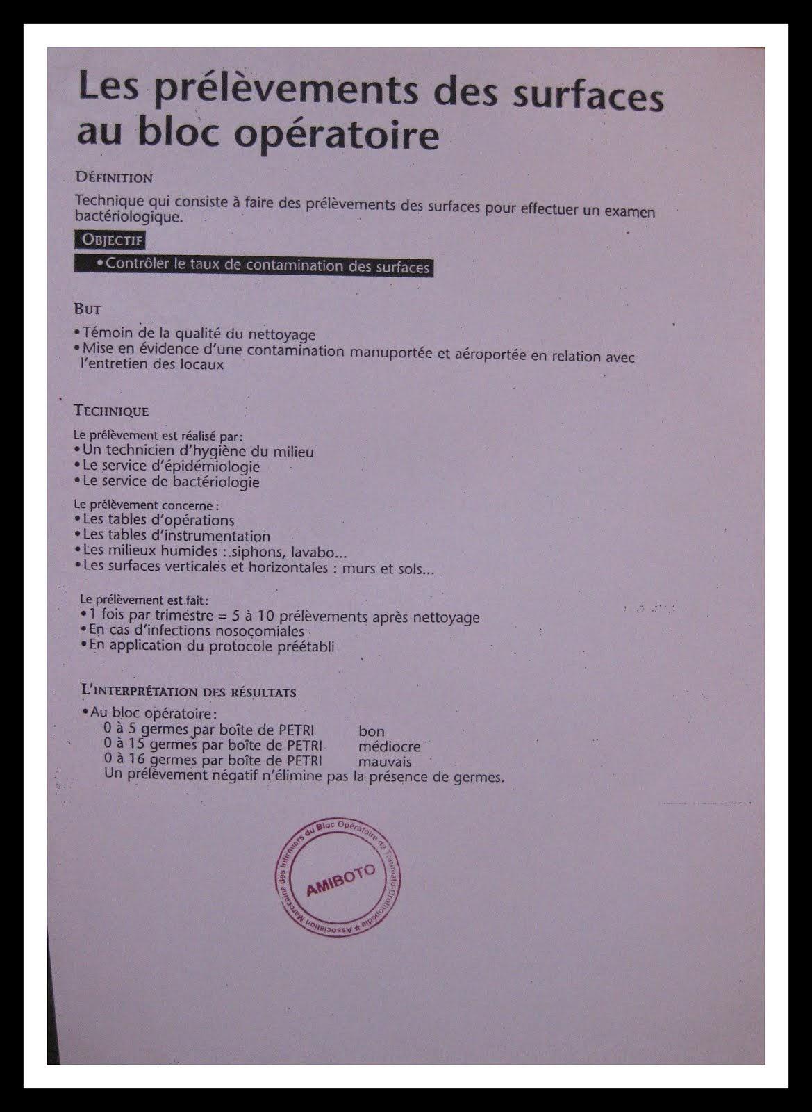 LES PREVENTIONS DES SURFACES AU BLOC OPERATOIRE