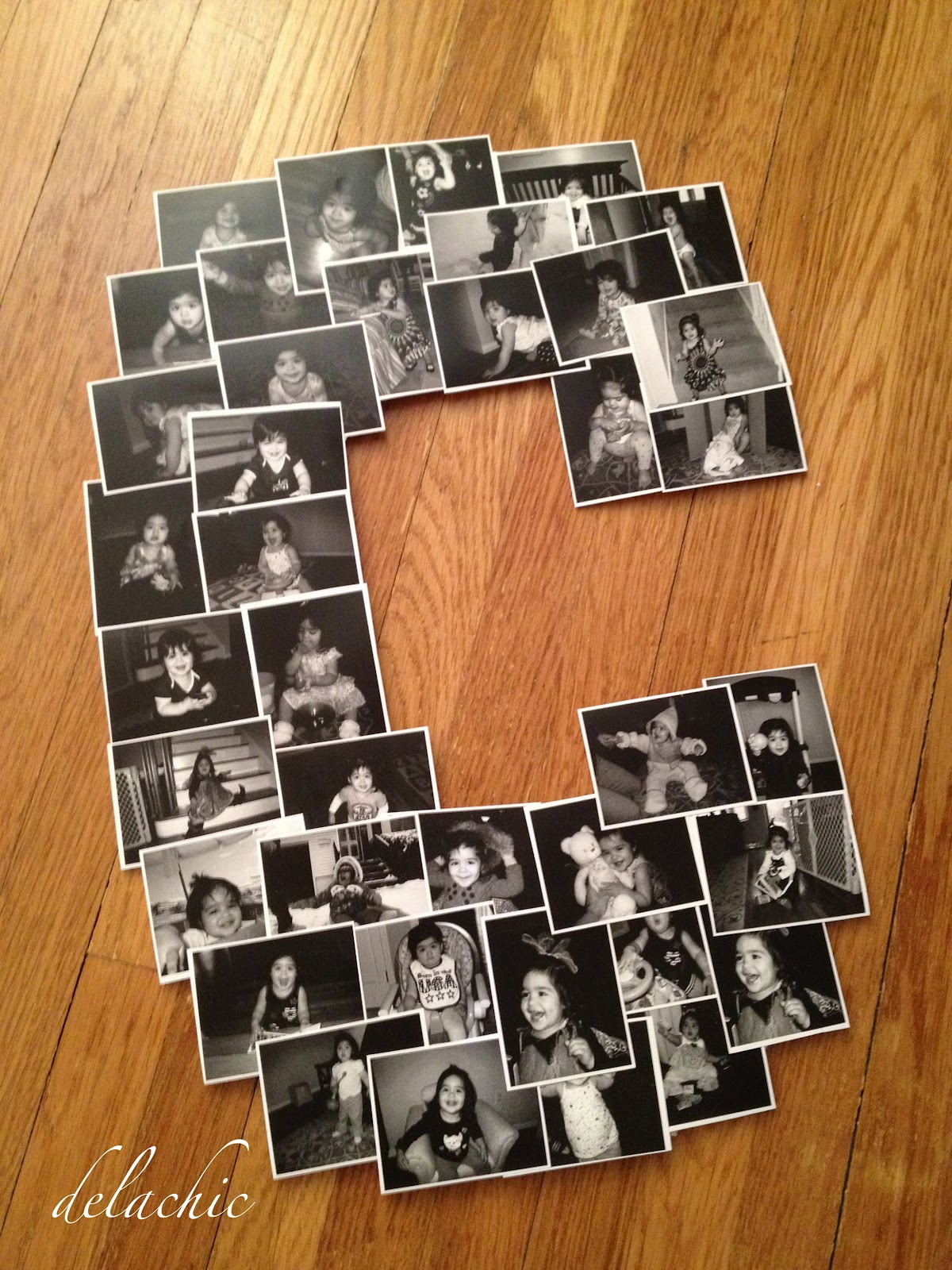 arrange the photos on the numberletter that youve cut out the curves can be tricky but just stack them like a staircase pattern it will work out