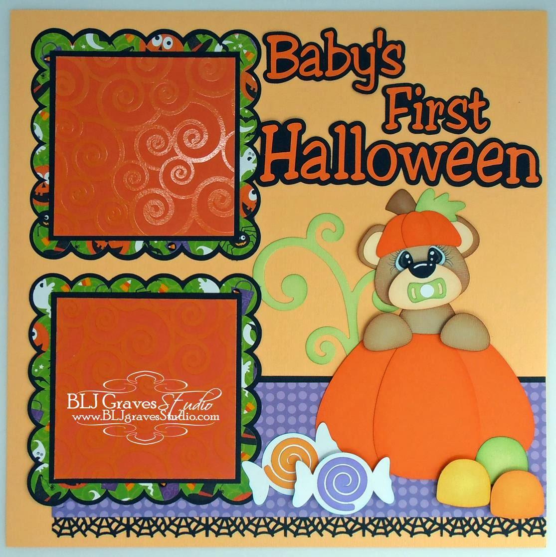 blj graves studio: baby's first halloween scrapbook page