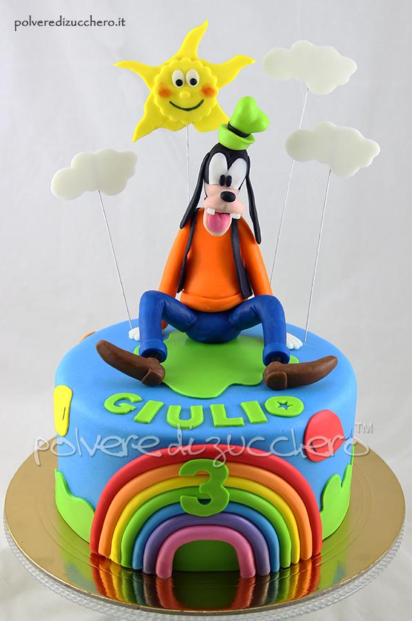 compleanno pippo goofy disney pasta di zucchero cake design polvere di zucchero