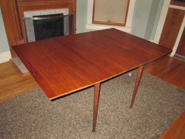 Cute Classic Walnut MCM Surfboard Shaped Drop Leaf Dining Table SOLD
