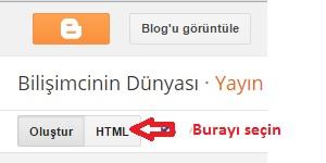 Blogger HTML görünümü