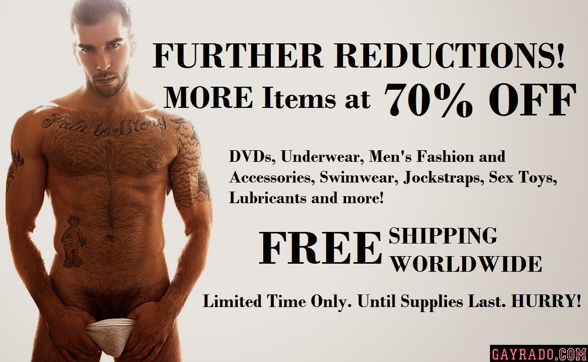 Gayrado New Years Sale mens underwear, swimwear, accessories, sex toys and gay DVDs