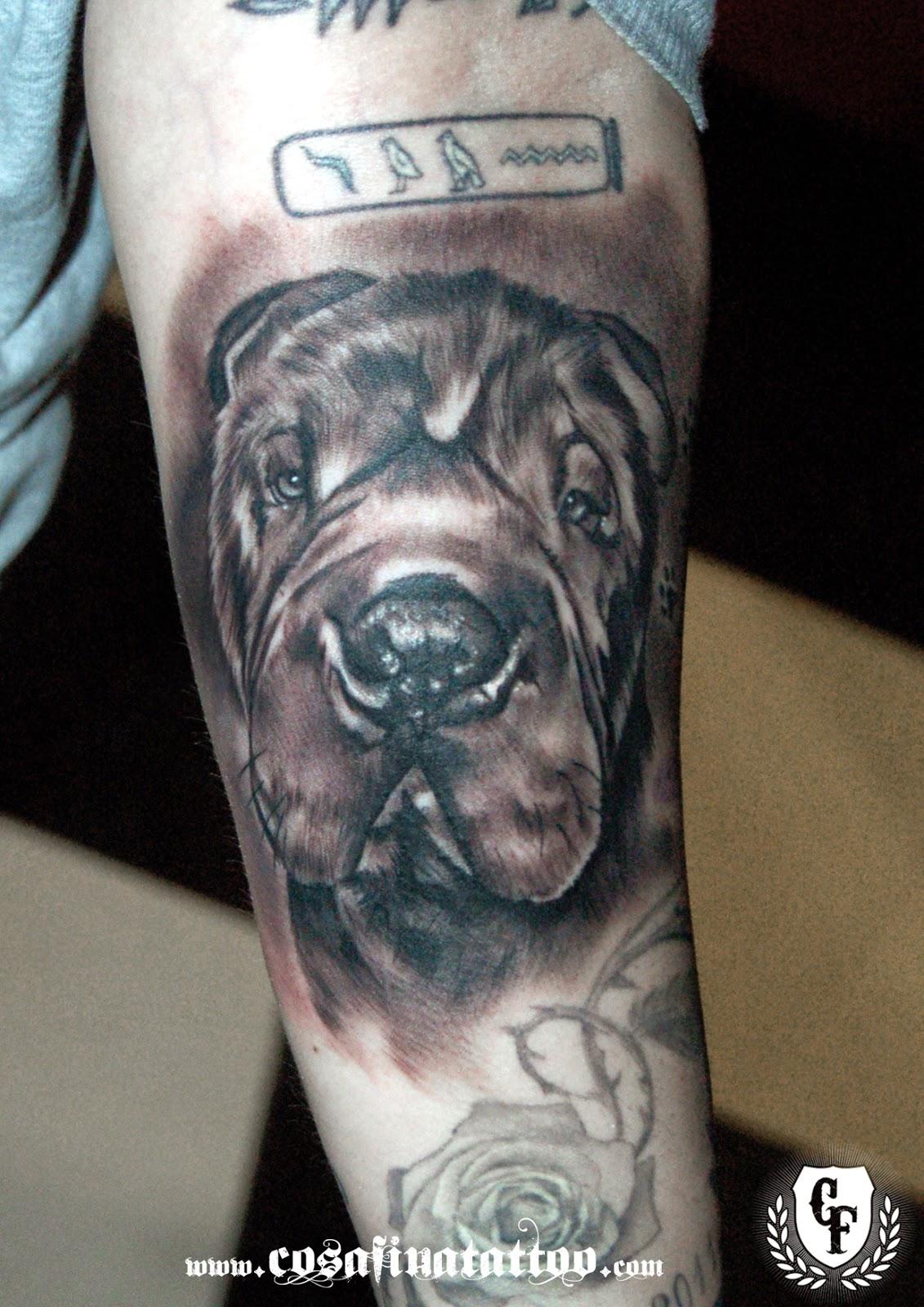 Tatuaje Carlos cosafina tattoo carlos art studio: tatuaje retrato perro realista