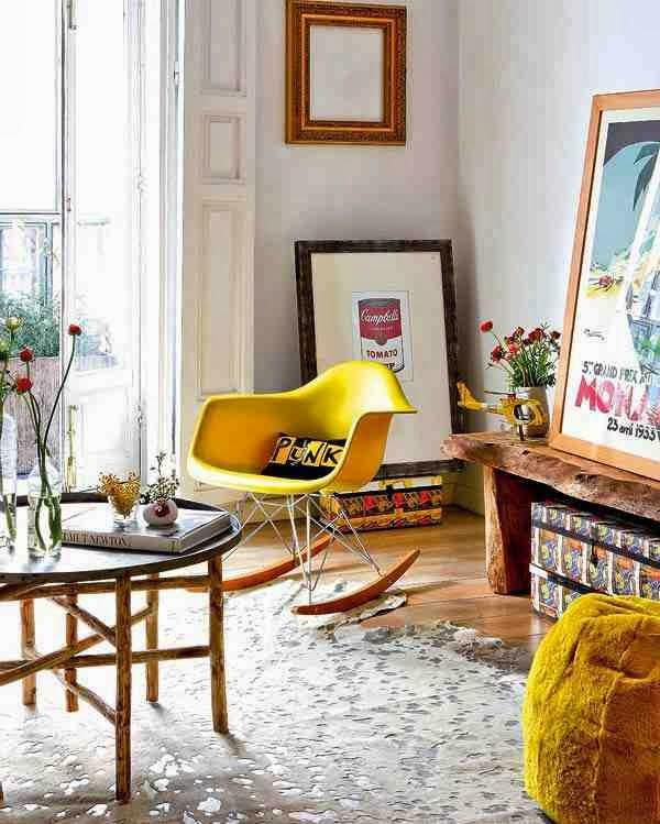 Żółte krzeslo Eames, Campbell's Soup pop-art we wnętrzach, eklektyczne wnętrze