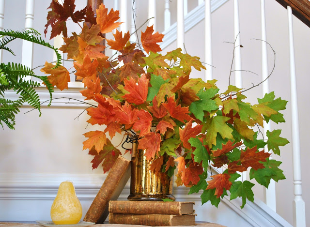 Fall Autumn Entryway Foyer Vignette Leaves