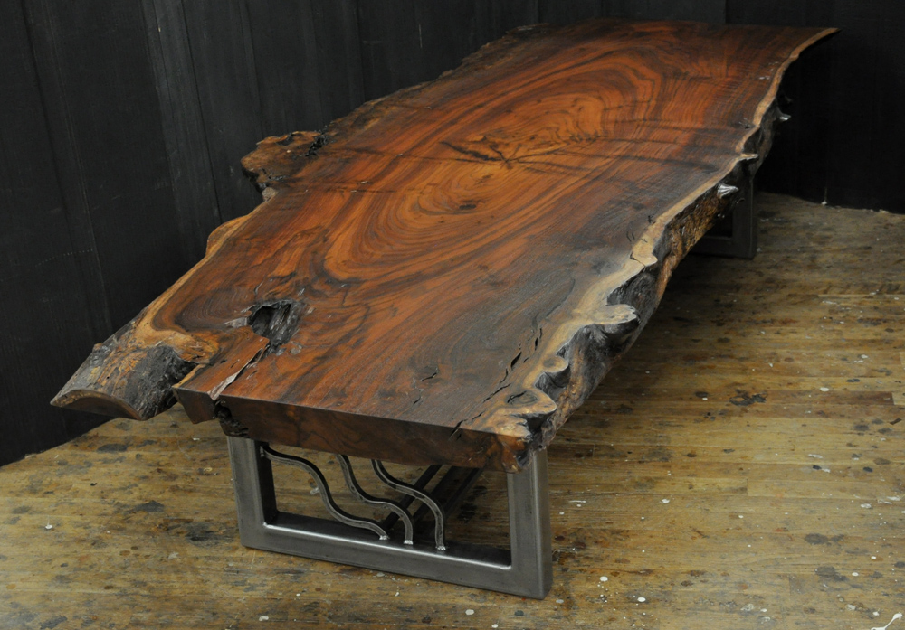 A live edge claro walnut slab coffee table Live wood coffee table