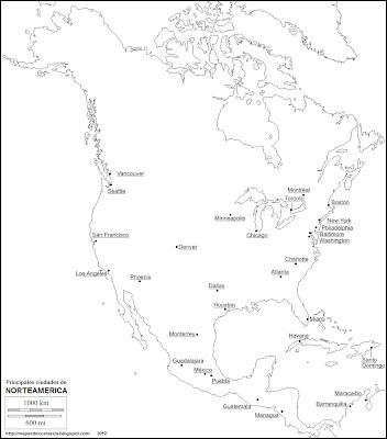 Mapa mudo de America del Norte. Nombre de las principales ciudades de Norteamerica