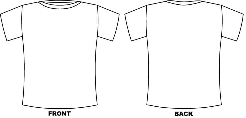 shirt outline front and back. black t shirt template back.