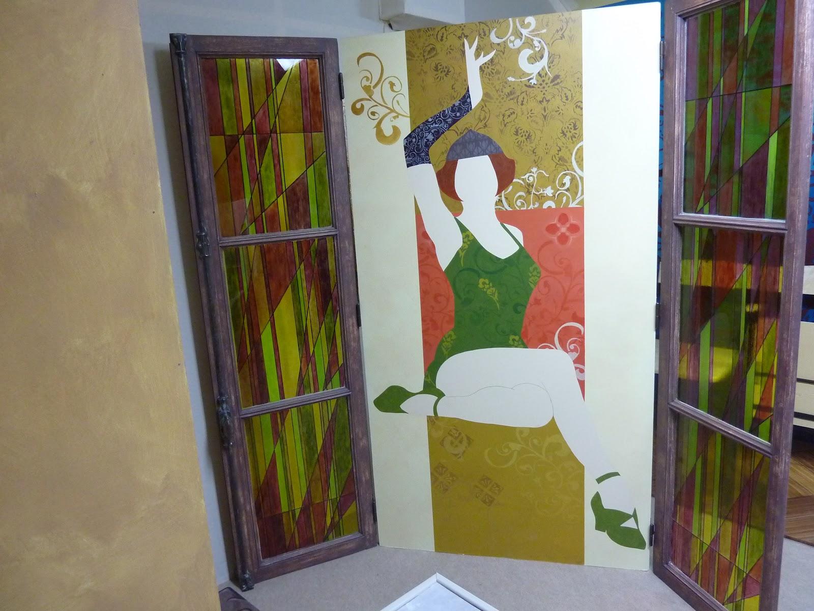 Paravent fen tre peinture sur verre patine peinture for Peinture sur fenetre