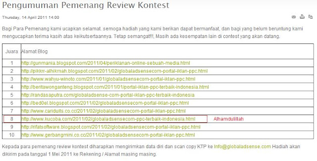 hasil lomba review global adsense