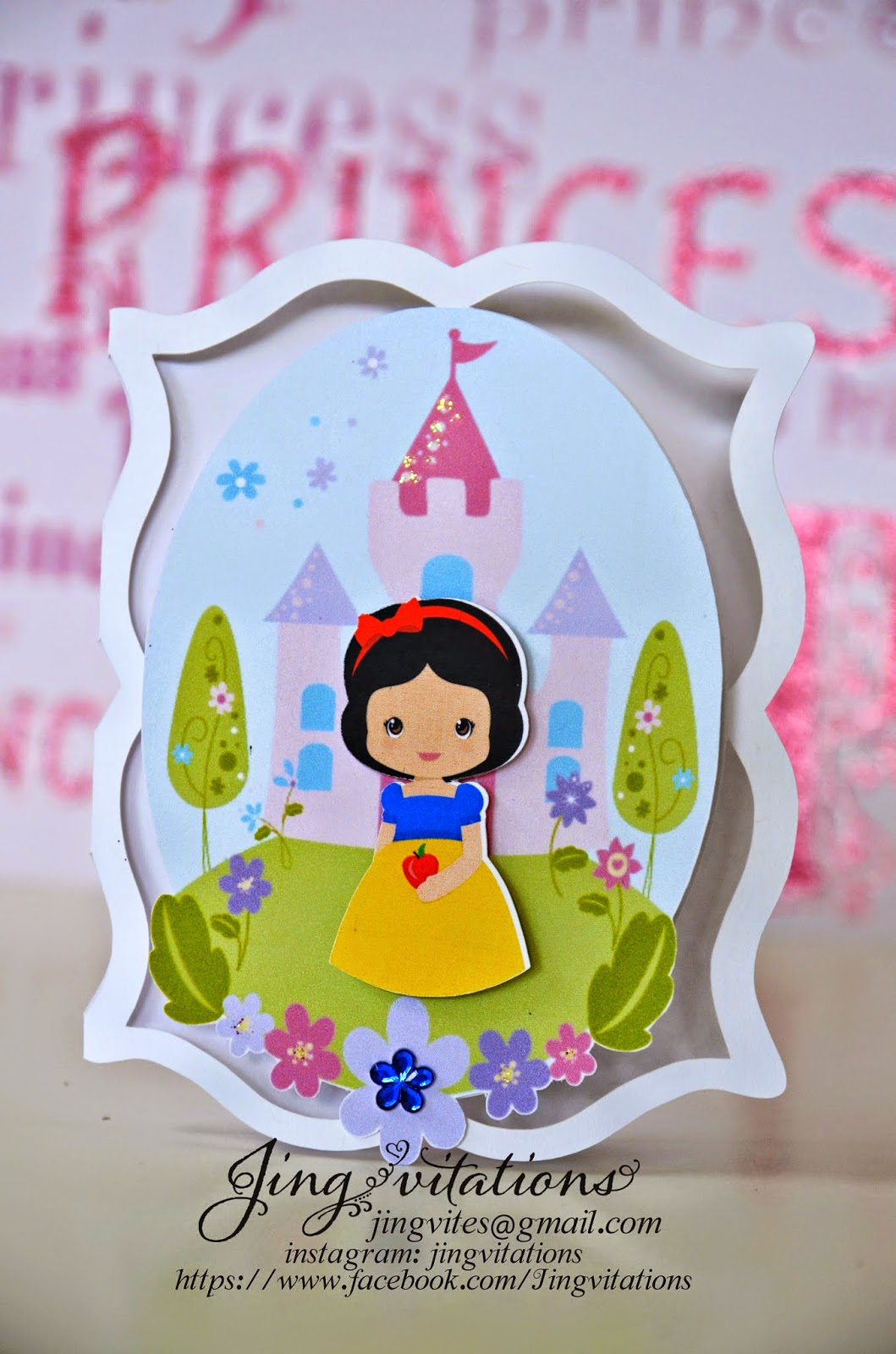 princess snow white handmade invitations