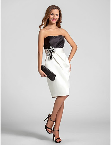 Vestido Satén Blanco y Negro con lazo