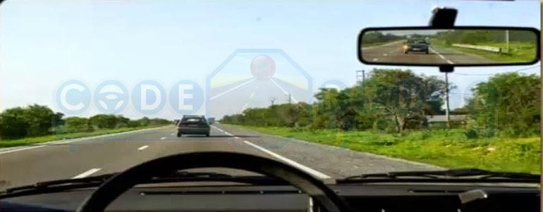 في هدا حالة ممنوع التجاوز سيارة خلفي شرعت في عملية التجاوز لازم نشد ليمن ونحتفظ بنفس السرعة ديالى ونسهل عملية التجاوز