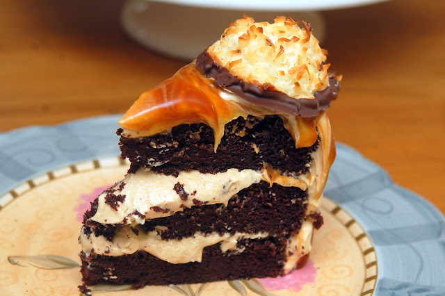 TRIPLE LAYER CHOCOLATE CAKE COATED IN CARAMEL BUTTER CREAM, TOPPED ...