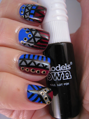 Tribal-nail-art-blue-grey-red-gold-Models-Own-black-nail-pen