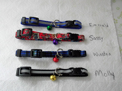 four cat collars with bells
