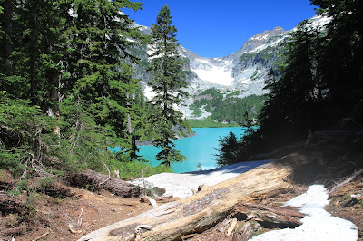 First View of Blanca Lake on the Trail