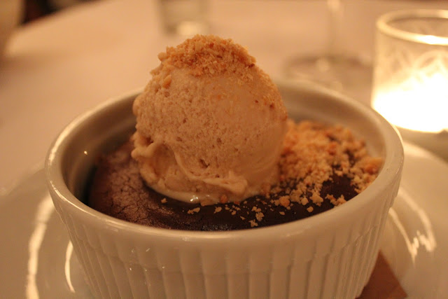 Flourless chocolate cake with hazelnut gelato at Ballo at Mohegan Sun