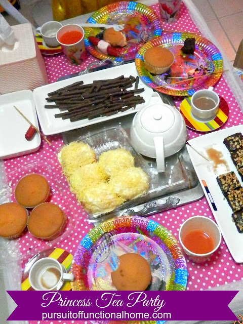 Princess Tea Party Ideas, decorations, food ideas, Mamom, ensaymada, brownies, pretzels, chuckie