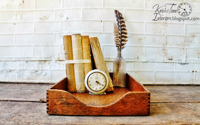 Antique Wooden Office Desk Tray via KnickofTimeInteriors.blogspot.com