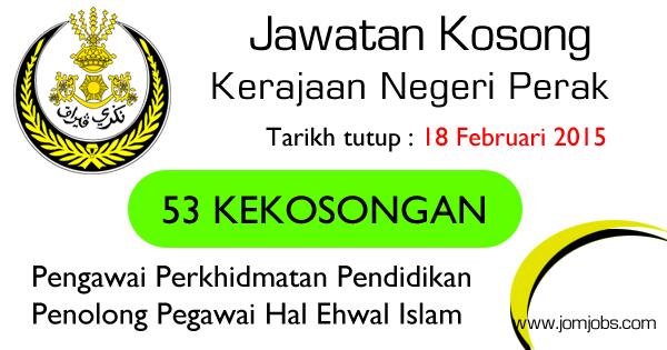 Jawatan Kosong Kerajaan Negeri Perak 2015 Terkini