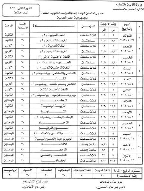 جدول امتحانات الدور الثانى للثانوية العامة 2012   103
