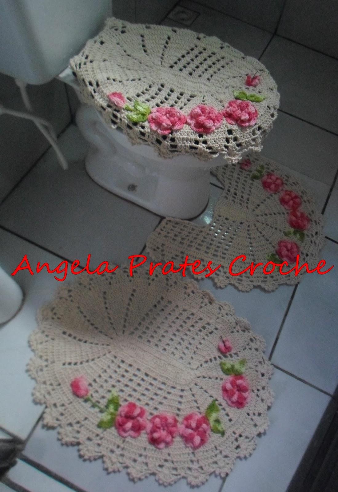 Ângela Prates Croche Jogo de banheiro em crochê com flores aplicadas -> Jogo De Banheiro Simples Em Croche