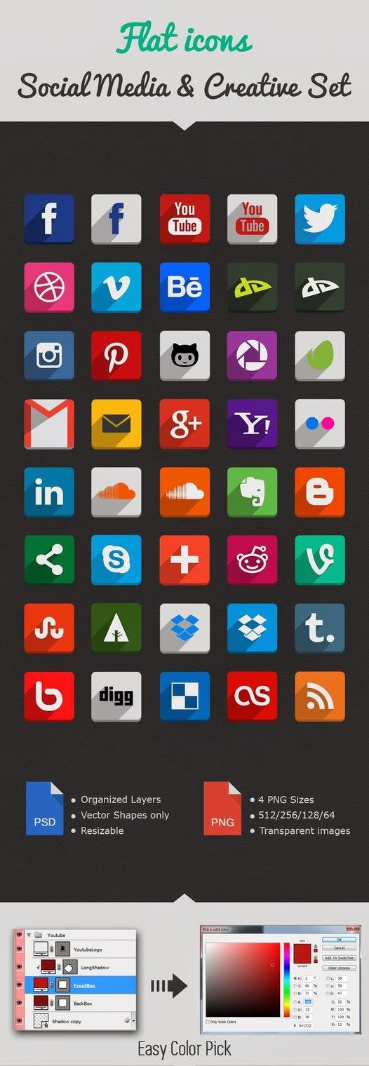 Beautiful Flat Social Media Icons Set