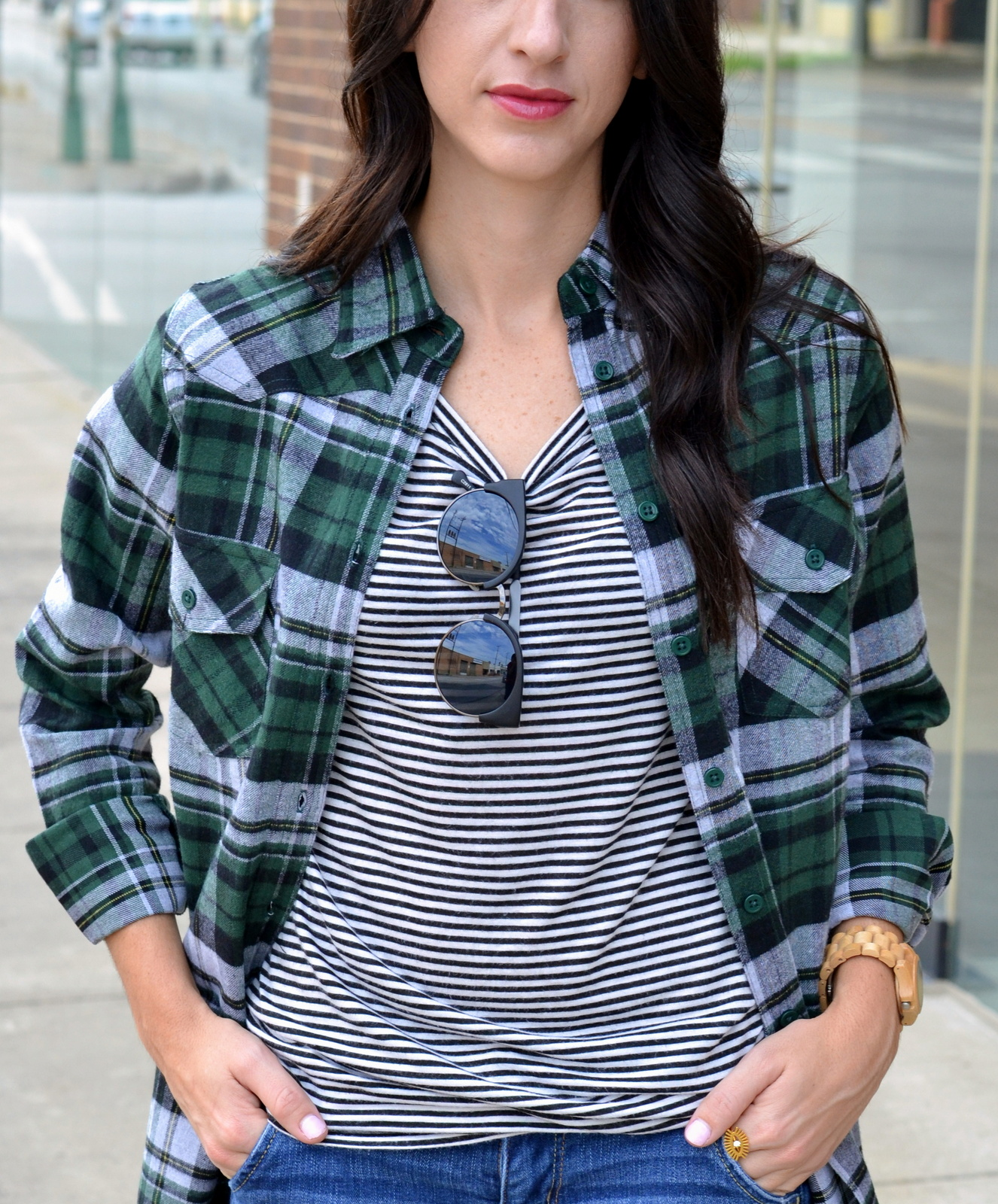 Fall bold lipstick, flannel, striped tee, fall outfit