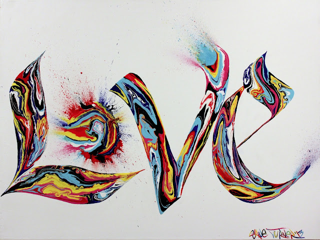 Acrylic painting of the word LOVE in graffiti styled calligraphy letters featuring 80s style marble swirls of neon acrylic paint with splatters.