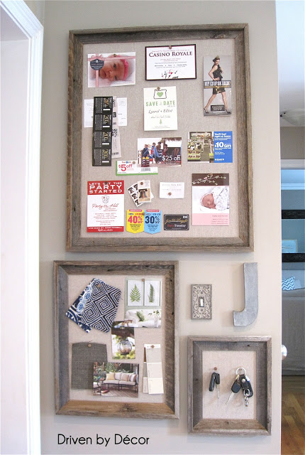 Diy reclaimed wood framed bulletin boards driven by decor for Kitchen cork board ideas