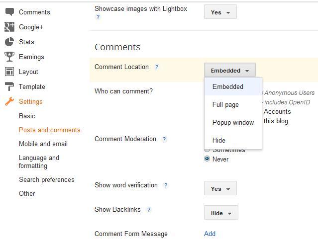 cara menghentikan atau disable fitur commenting komen di blogger
