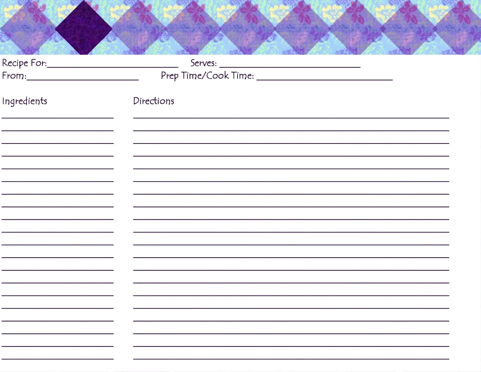 It is a picture of Transformative Blank Recipe Card