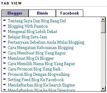 Cara Membuat Tab View di Blog