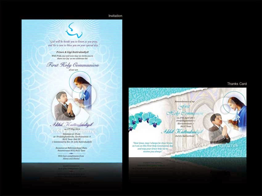 C O adventures First Holy Communion Invitation Card Design – Invitation Cards for First Holy Communion