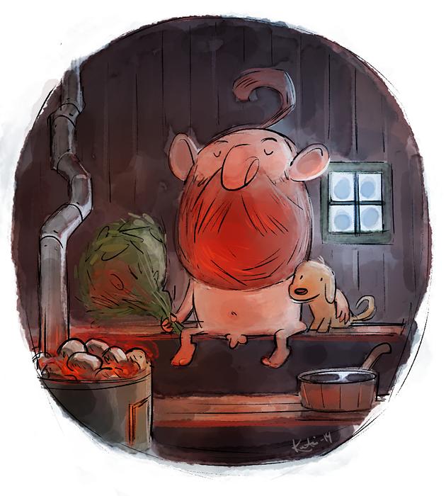 #illustration #painting #drawing #sauna #finland #dog #winter #man #beard #viking