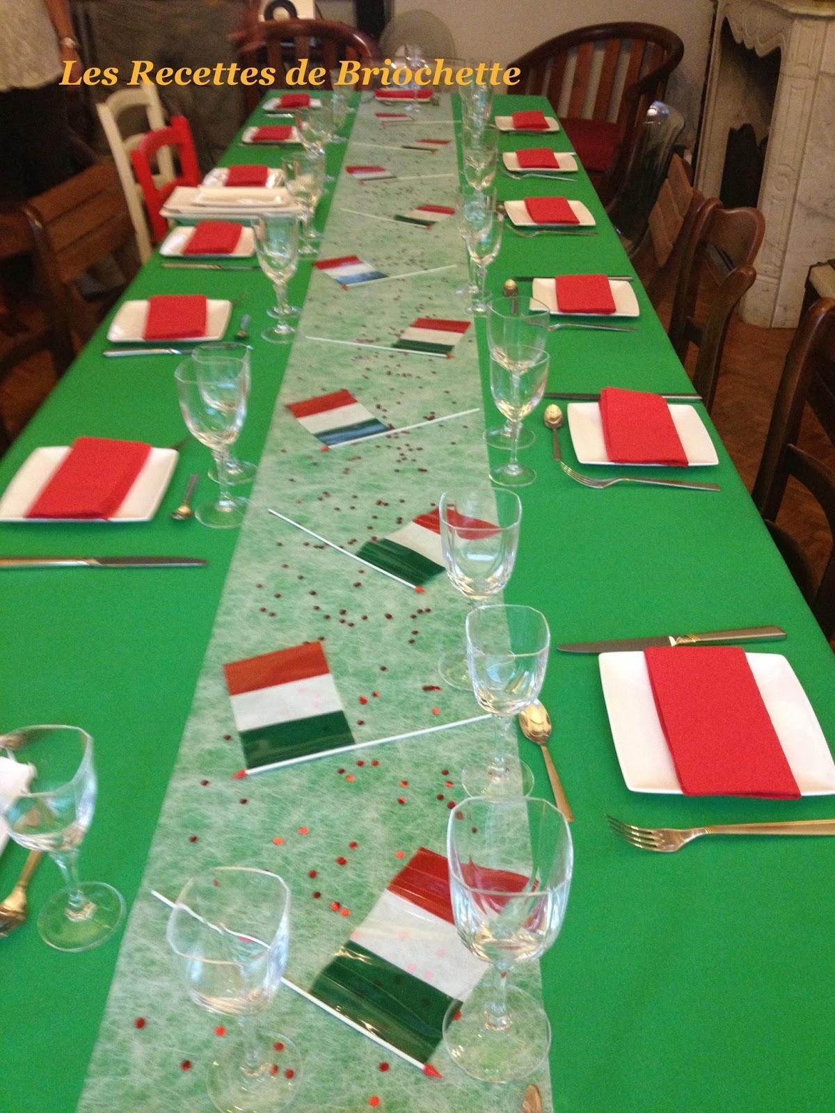 Decoration Italienne Table : Les recettes de briochette menu italien pour l