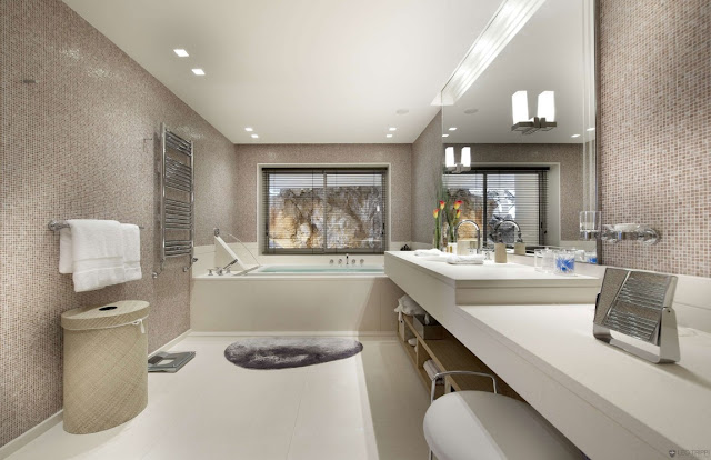 Another modern large bathroom with bright furniture