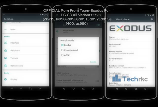 Team-Exodus Lollipop Rom For LG G3 All Variants