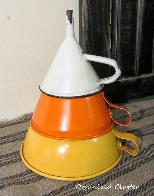 Funnels re-purposed as candy corn