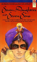 cover of Seven Daughters and Seven Sons shows a woman with a purple turban holding a thin veil over the lower half of her face