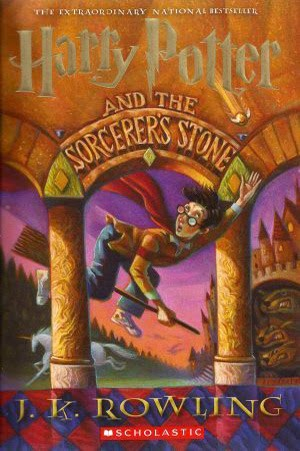 the cover of Harry Potter and the Sorceror's Stone by J.K. Rowling