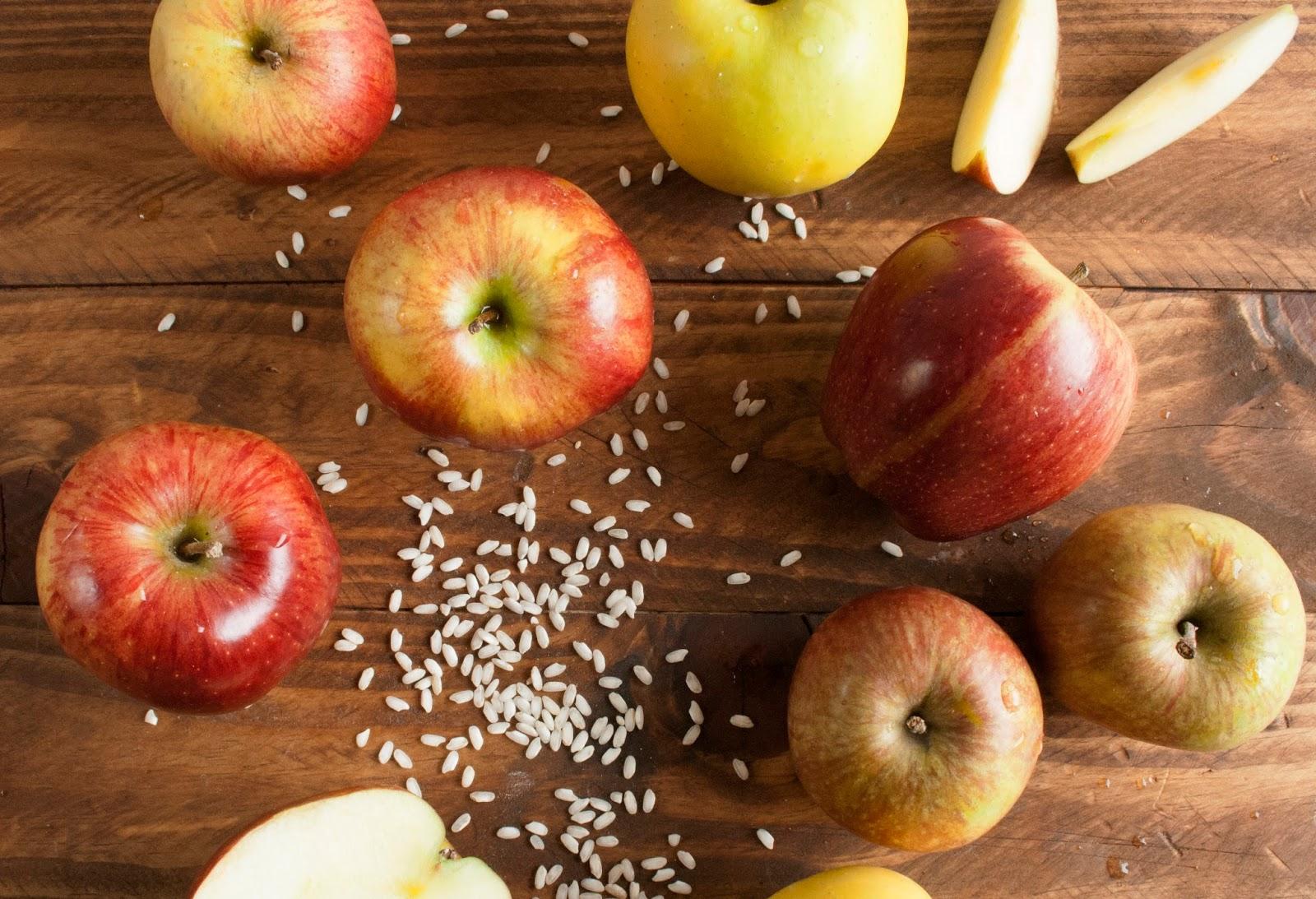 Ingredientes principales. Arroz y manzanas
