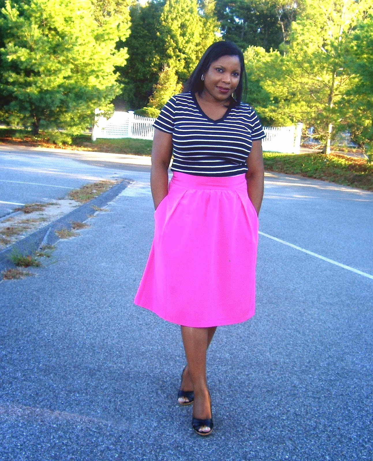 skirt with pockets, stripes and midi skirt