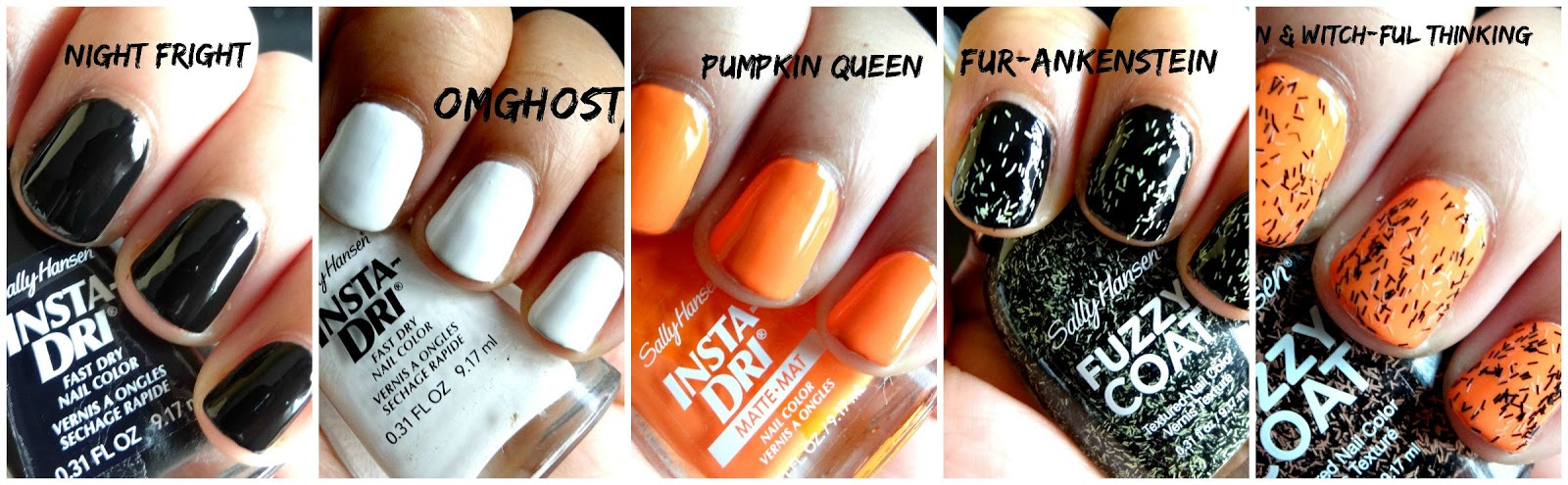 Night Fright- a rich black opaque Black creme OMGhost- a creme opaque White Pumpkin Queen- a bright matte Orange Fur-ankenstein- Black and Green mixed texture Witch-ful Thinking-