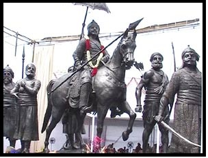 Statue of Maharana Pratap at Parliament House in New Delhi, India