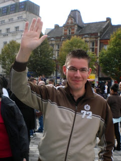 Preparing my High Fiving arm for the Guinness World Record Attempt in Luton's St Georges Square