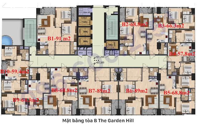 Mặt bằng Tòa B the garden hill - 99 trần bình