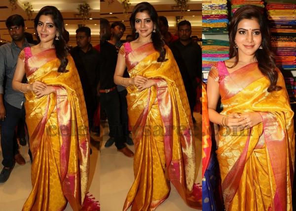 Samantha Mustard Pink Silk Sari